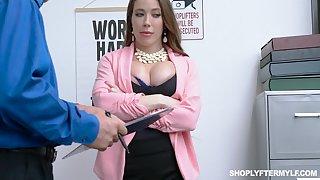 Milf kleptomaniac Bianca Burke gets fucked and jizzed by security guy