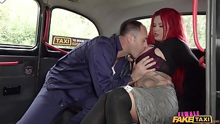 Tattooed sinner Sabien DeMonia gets fucked good by her cabbie
