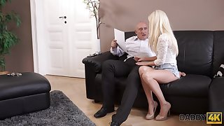 An old man gets pussy is hot and that cute young woman just loves to fuck