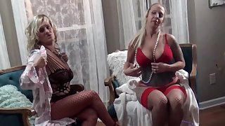 MILFs in lingerie sharing big dicks in 4some