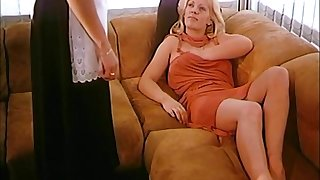 Two blonde lesbians seduced the maid