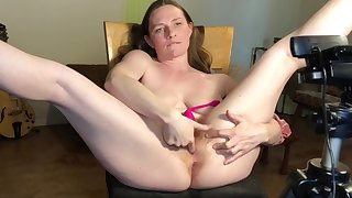 Ginger Milf Soaks Chair In Squirt And Breast Milk