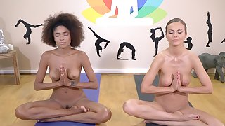Yoga therapy leads these babes to insane cock sharing porn