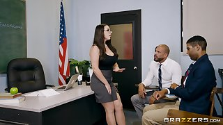 Aroused female with voluptuous forms, insane immigration XXX threesome