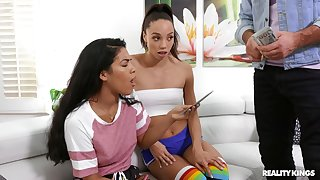 Older man deep drills and also gags the skinny ebony teen for cash