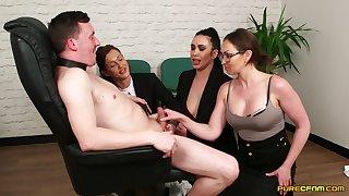 Dirty secretary Chantelle Fox makes her assistants suck a dick