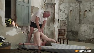 Slim twink endures old man's dirty punishment in serious anal BDSM play
