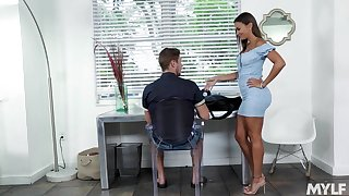 Hot stepmom in a skin tight dress gives her stepson a stress relieving blowjob