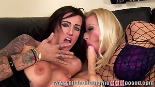 sexy tattooed moms with fake tits share dildo - lesbians