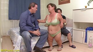 Chubby flexible mature midget and her midget husband in their first threesome fuck orgy
