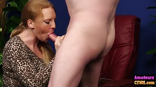 Hungry Cfnm Chick Goes Down On Dick