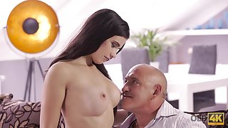 OLD4K. Daddy drills throat, twat, and prat be useful to gorgeous