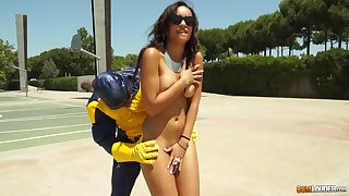 Latina teen Sasha Jones kidnapped increased wide of fucked wide of a masked suppliant
