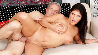 Mature Hottie Carolyn Jewel Gets The brush Pussy Plowed by an Old Guy