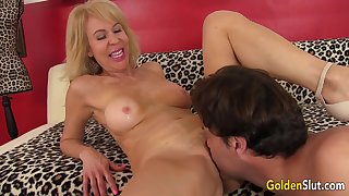Well-pleased GILF Erica Lauren Enjoys a Long Cock in Her Lustful Holes