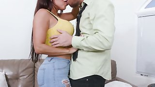 Awesome Cuban hottie Diamond Kitty is made to ride strong cock on zenith