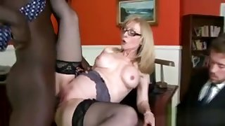 Gorgeous Blonde Cougar Gets Splintered Unconnected with Her Sons Black Boss