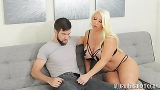 Mature blonde MILF Alura Jenson gives an awesome titjob and gets cum