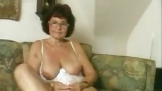 Appealing old lady masturbating.