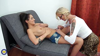 Tattooed mature lesbian couple Celeste and Sharisa swept off one's feet each every other