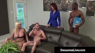 Bosomy Mothers Deauxma & Alexis Golden - Interracial Foursome