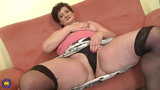 Amateur mature brunette BBW Josina strips and fingers personally