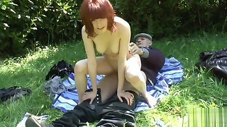 Busty young french redhead fucked by oldman voyeur outdoor