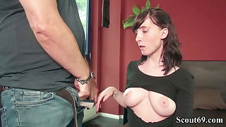 GERMAN SCOUT - 18YO LIA LOUISE THREESOME SEX SEX ORGY BY OLD AND YOUNG CUTIE MAN