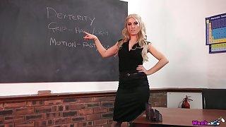 Luscious teacher Jasmine Lau gets horny and plays with suction cup dildo