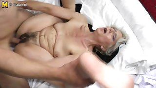 Hairy grandma indestructible fucked by young lover