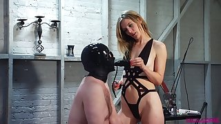 Dominant slut Mona Wales makes dude fuck her pussy with strapon