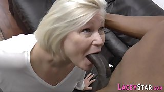 Plowed grandma sucking big black cock - low quality