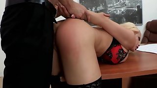 Blonde Slut Mouthfucked at work