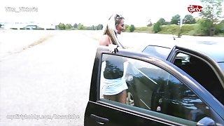 Public bareback creampie for mature street hooker