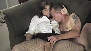 This thick brunette wife couldnt wait to suck and fuck her husband on camera