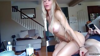Shameless naked MILF squats on hard boner