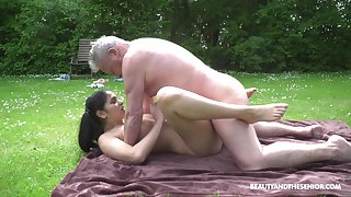 This hot young and old adventure comes to an end when he cums on her tits