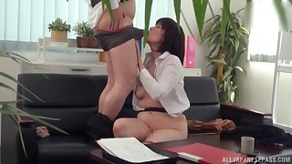 Japanese mature tries hard sex at the office