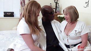 Two chubby head nurses bang one black man and eat his cum greedily