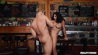 Brunette sucks and rides in perfect manners