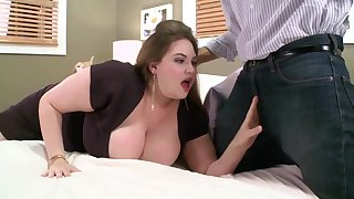 Pale babe with massive milk jugs is fucking a guy she has met a while ago